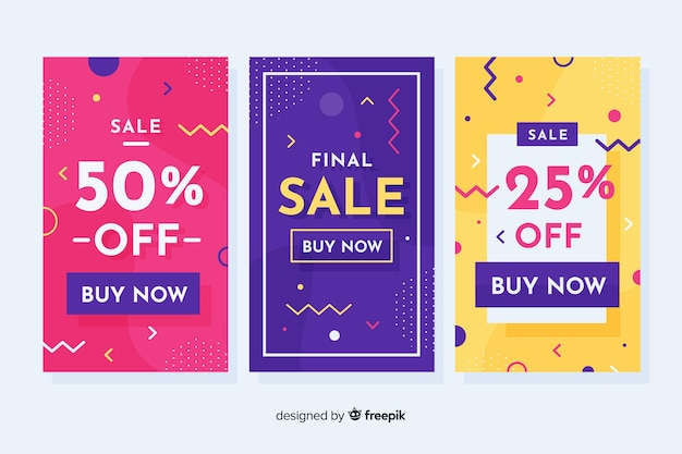 Memphis sales banners template collection