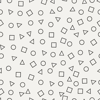 멤피스 완벽 한 패턴입니다. 원, 사각형, 삼각형 추상 복고풍 배경. 섬유 제품의 기하학적 배경입니다. 벡터 일러스트 레이 션.