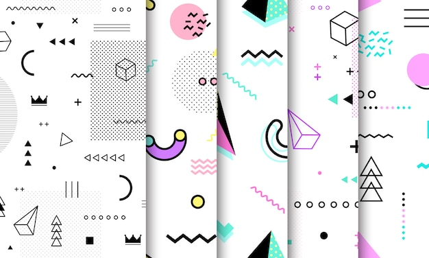 Memphis seamless pattern collection.
