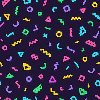 暗い色の形からなるメンフィスのシームレスなパターン