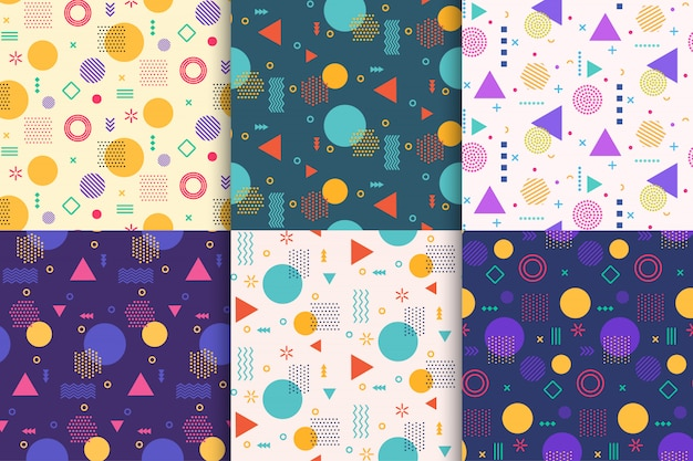 Memphis seamless pattern design set