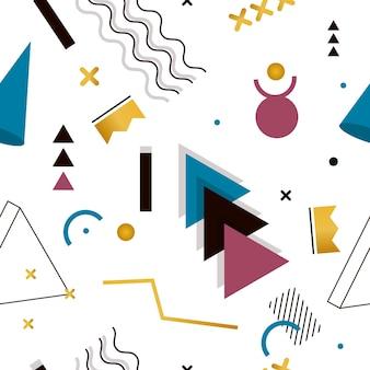 ティッシュやポストカードの幾何学的形状のメンフィスシームレスパターン。流行に敏感なジューシーな、明るい色の背景。クリエイティブな抽象的な幾何学形状のファッションプリント。