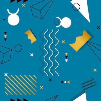 ティッシュやポストカードの幾何学的形状のメンフィスシームレスパターン。流行に敏感なポスター、ジューシーで明るい色の背景。クリエイティブな抽象的な幾何学形状のファッションプリント。