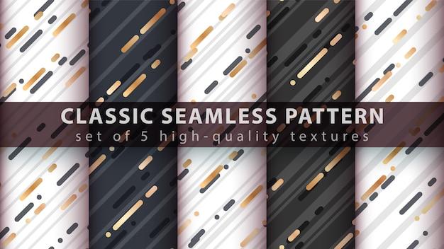Memphis seamless pattern - set five items.