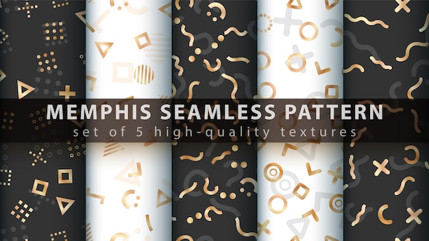Memphis seamless pattern - set five items.