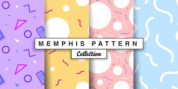 Memphis seamless pattern set.
