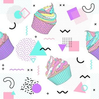 Memphis seamless pattern with cupcake.
