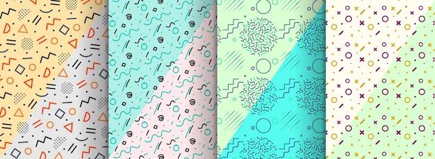 Бесшовные шаблоны memphis доступны на панели «образцы»