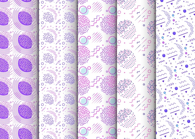 Memphis seamless patterns available in swatches panel