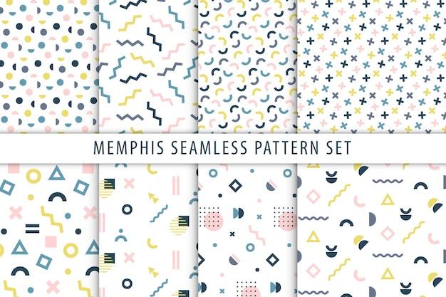 メンフィスのシームレスなパターンセット。幾何学的なプリントのベクトルコレクション。