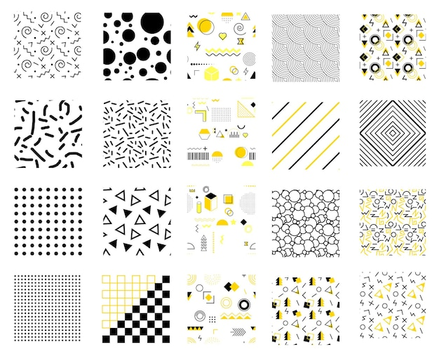Memphis seamless patterns set.