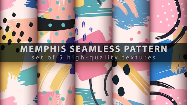 Memphis set seamless pattern