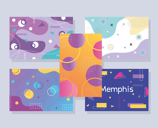 Memphis style abstract creative templates banner set, geometric design illustration