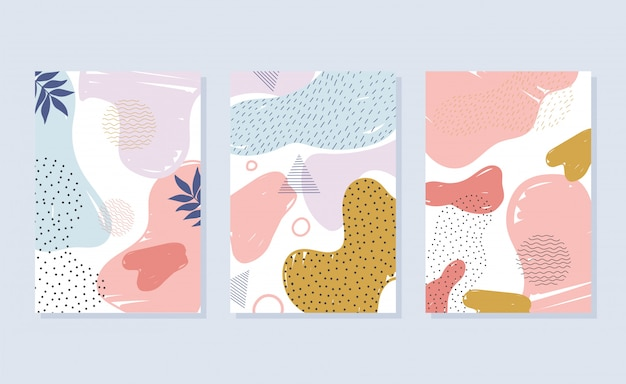 Memphis style abstract decoration color stains brochure or covers fashion design illustration