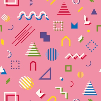Memphis style abstract geometric seamless pattern