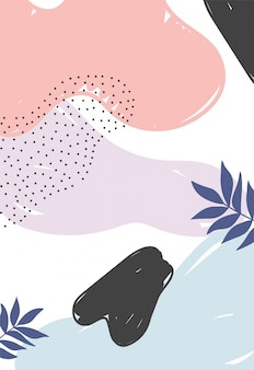 Memphis style abstract leaves decoration texture with spots illustration