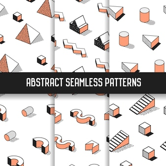 Memphis style abstract seamless patterns set with geometric elements. funky hipster 80s-90s fashion backgrounds for wallpaper, posters, fabric.