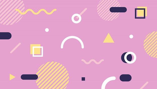 Memphis style background with geometric shapes