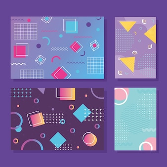 Memphis style banner templates collection, 80s 90s with geometric shapes illustration