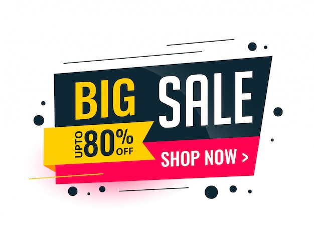 Memphis style big sale template banner