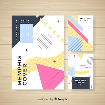 Memphis style brochure template collection