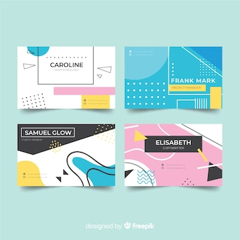 Memphis style business card template collection