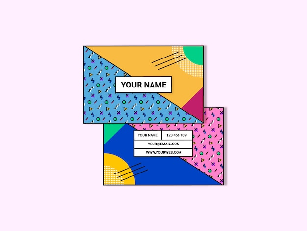 Memphis style business card template vector