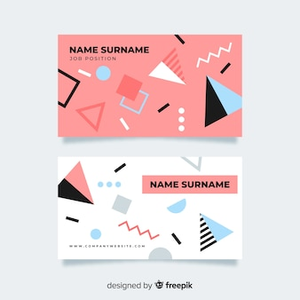 Memphis style business card template Free Vector