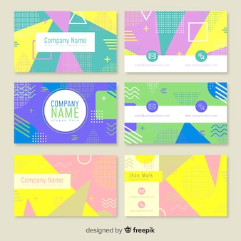 Memphis style business card templates