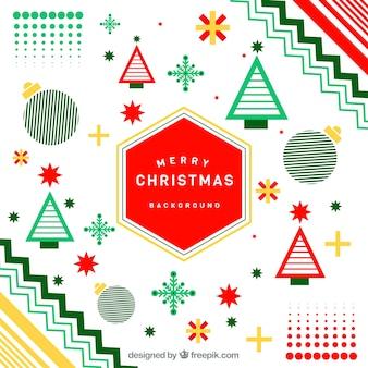 赤と緑のメンフィススタイルのクリスマスの背景