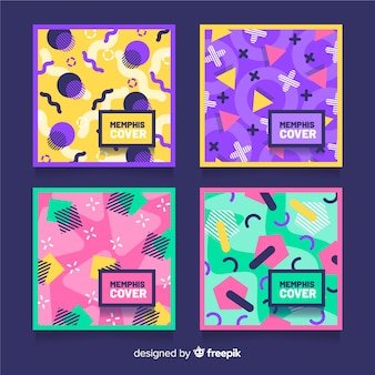 Memphis style colorful cover pack