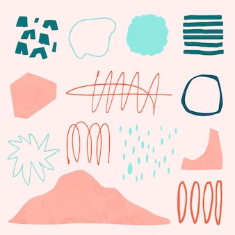 Memphis style colorful elements in pastel set