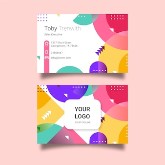 Memphis style company card with colorful shapes