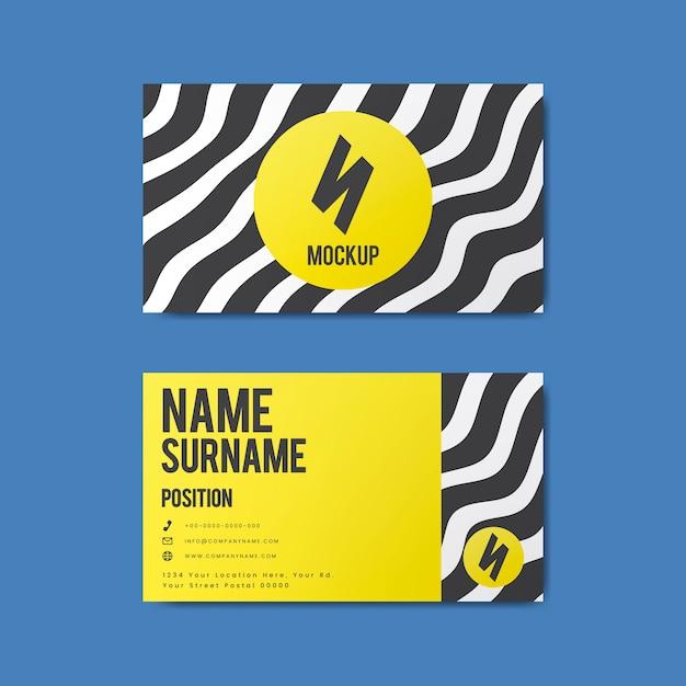 Дизайн креативной визитной карточки в стиле мемфиса выделен жирным цветом