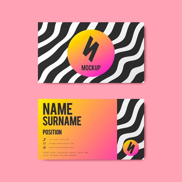 Креативный дизайн визитной карточки в стиле мемфис в ярких цветах