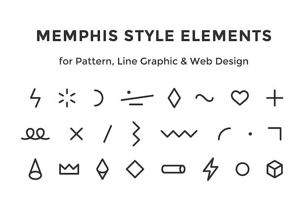 멤피스 스타일 요소입니다. 멤피스 디자인 요소, 라인 그래픽 세트
