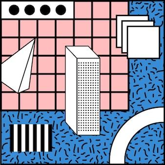 Memphis style geometric blue background
