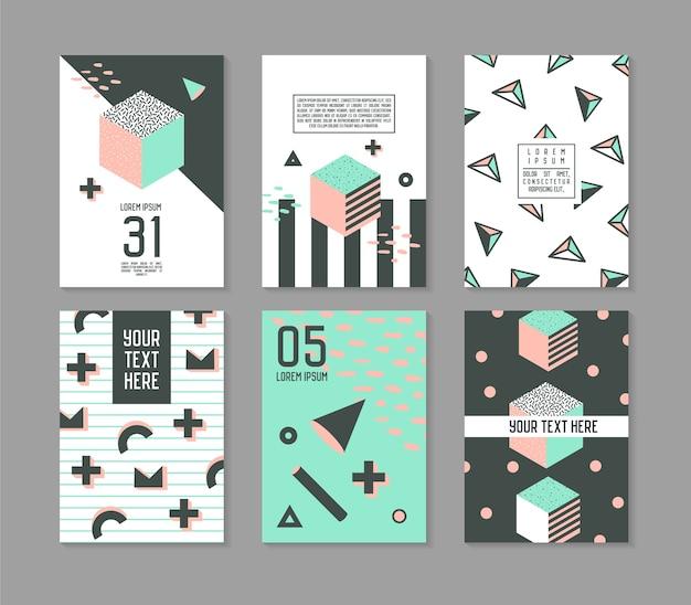 メンフィススタイルの幾何学的要素ポスターテンプレートセット。流行に敏感なファッション80年代90年代のカードのパンフレットのバナーをテキスト用の場所で抽象化します。