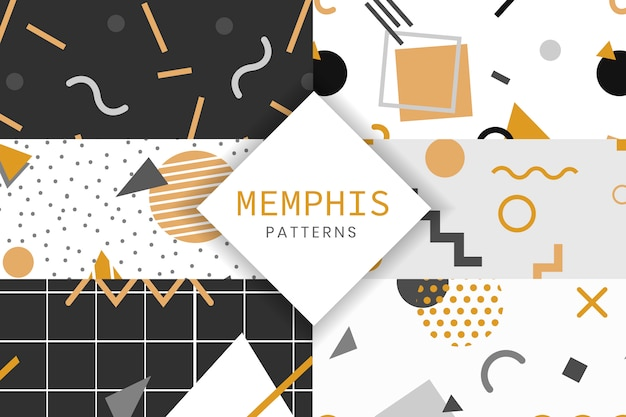 Memphis style pattern collection