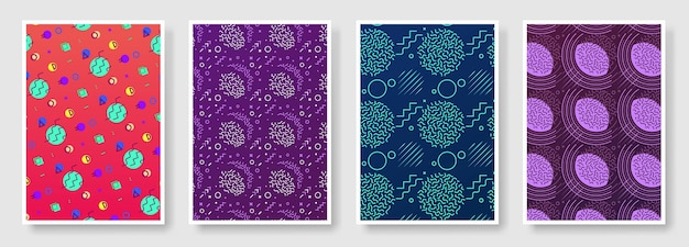Memphis style poster set, seamless background available in swatches panel
