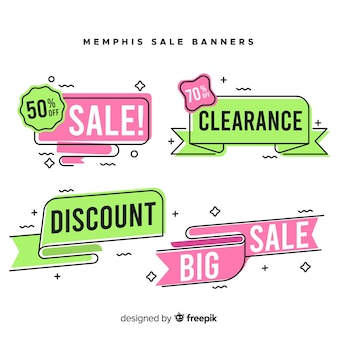 Memphis style sale banner collection