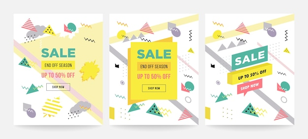 Memphis style sale cards design collection of templates