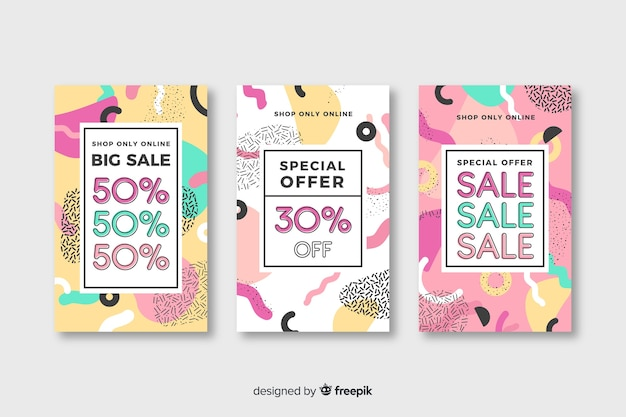 Memphis style sales banner template