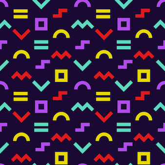 Memphis style seamless pattern. geometric shapes background with dark backdrop. wrapping paper texture.