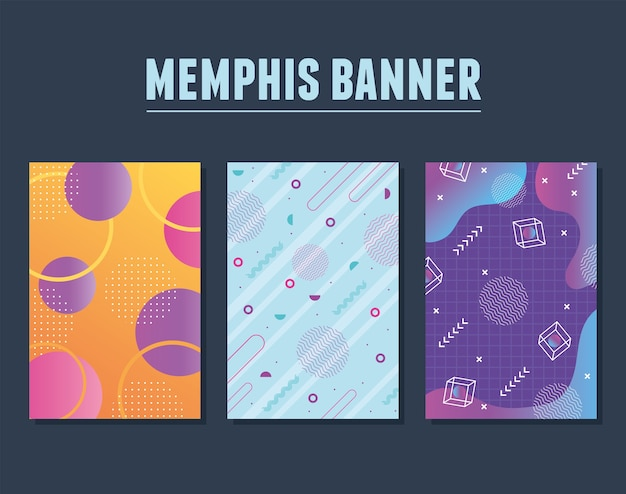 Memphis style set with geometric shapes and banners illustration