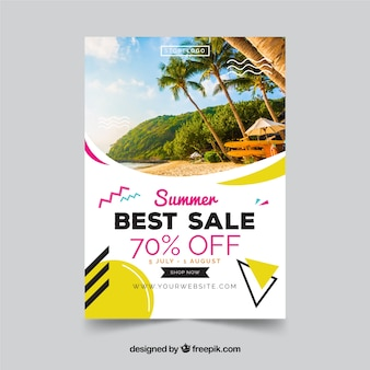 Memphis style summer sale flyer template with image