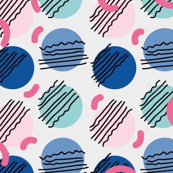 色の幾何学的なデザインのベクトル図とメンフィススタイル