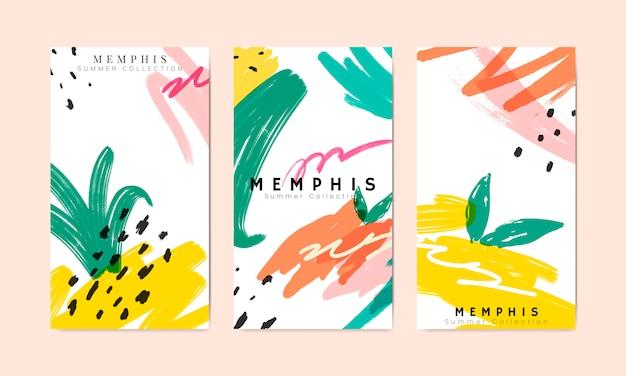 Memphis summer banner collection vector