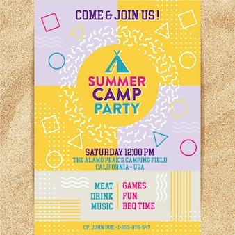 Memphis summer camp party poster