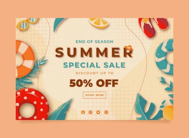 メンフィス水彩夏セールバナーテンプレートとリーフレモンブイとサンダルのイラスト